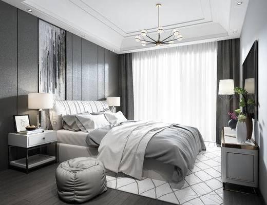 现代简约卧室, 现代, 卧室, 床, 床头柜, 电视柜, 沙发凳, 吊灯, 装饰画, 挂画, 台灯, 落地灯