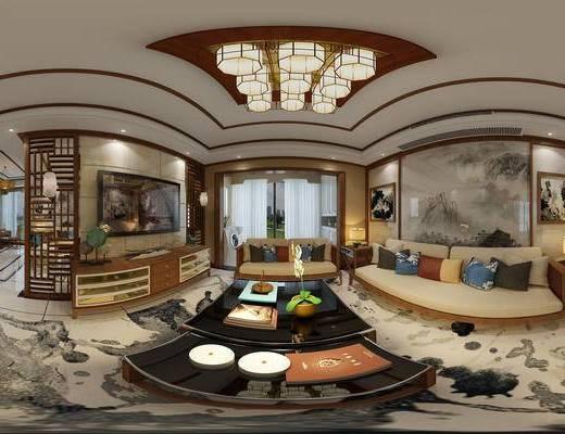 中式客餐厅, 茶几, 沙发, 电视柜, 灯具, 摆件