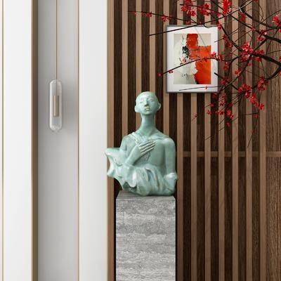 玄关摆件, 摆件组合, 人物玄关, 树木花卉, 中式