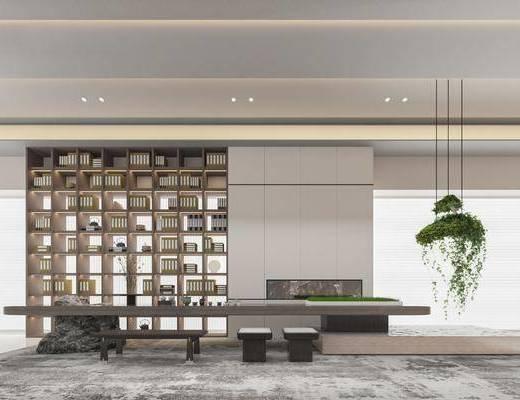 现代售楼处, 品茶区, 书柜, 茶桌