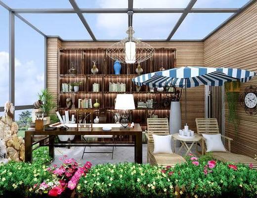 新中式, 露台, 书房, 阳台, 装饰柜, 置物柜, 陈设品, 假山, 盆栽, 绿植