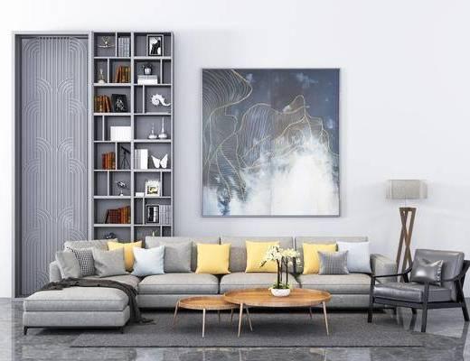 沙发组合, 沙发茶几组合, 现代沙发, 装饰画, 置物柜, 书柜