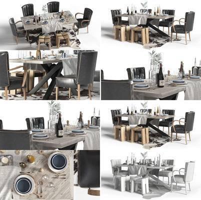 餐桌椅, 餐桌, 餐椅, 餐具, 食物, 地毯, 桌椅组合, 现代