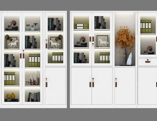 柜架组合, 文件柜, 置物柜, 现代文件柜组合, 现代, 文件夹, 摆件
