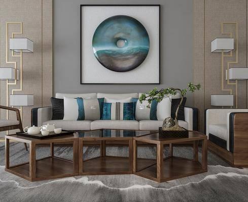 沙发组合, 多人沙发, 茶几, 单人沙发, 落地灯, 盆栽, 绿植植物, 装饰画, 挂画, 茶具, 中式