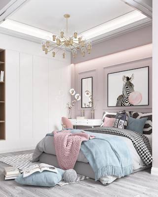 北欧卧室, 北欧床具, 北欧双人床, 北欧挂画, 现代衣柜, 梳妆台