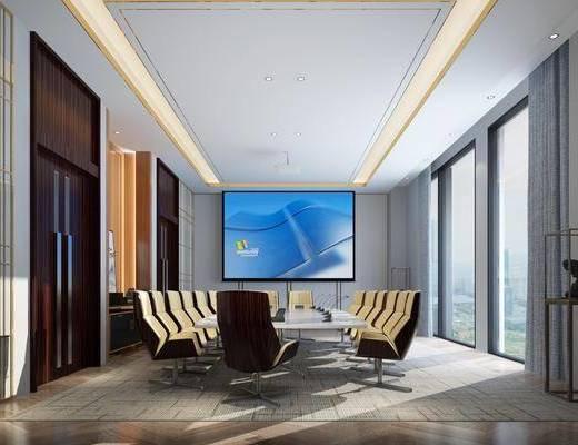 会议室, 会议桌, 办公桌, 办公椅, 单人椅, 边柜, 装饰柜, 装饰架, 现代