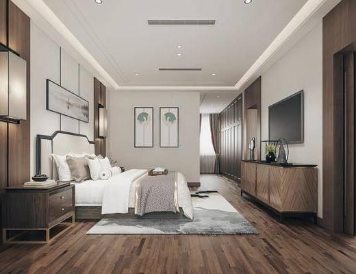 雙人床, 床具組合, 電視柜, 擺件組合, 裝飾畫, 壁燈, 床頭柜