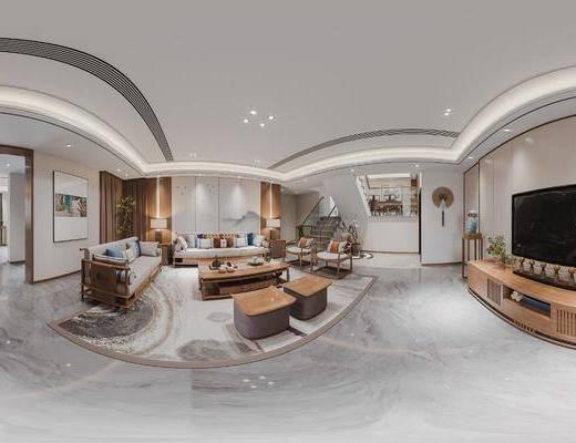 新中式, 客餐厅, 家装