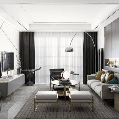 客厅, 沙发, 落地灯, 边几, 电视柜, 茶几, 摆件, 现代客厅