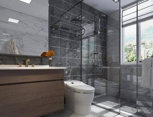 卫浴, 卫生间, 现代卫生间, 现代, 坐厕, 洗手台, 卫浴小件
