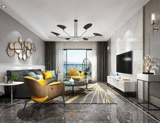 客厅, 多人沙发, 茶几, 单人沙发, 电视柜, 装饰柜, 吊椅, 休闲椅, 边几, 墙饰, 边柜, 壁灯, 现代, 吊灯