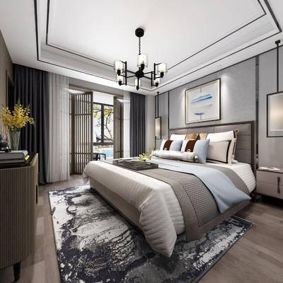 中式卧室, 主卧, 卧室, 床, 装饰柜, 中式吊灯, 床头柜