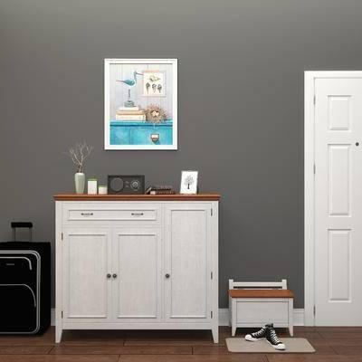 鞋柜, 边柜, 玄关柜, 装饰画, 陈设品, 摆件