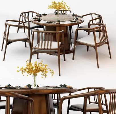 中式, 餐桌椅, 花瓶, 餐具