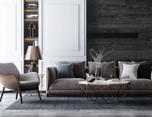 沙发组合, 茶几, 单椅, 抱枕, 摆件组合