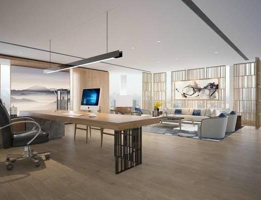 办公室, 沙发组合, 办公桌椅, 桌子, 现代沙发, 装饰画, 吊灯