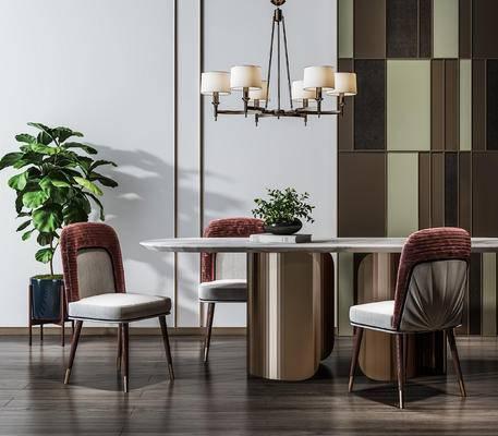 吊灯组合, 餐桌, 桌椅组合, 植物