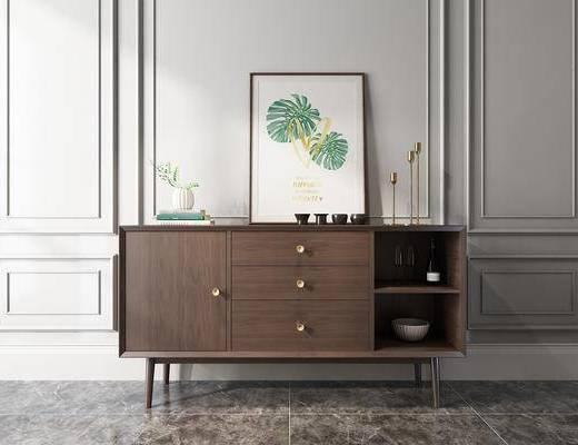 实木边柜, 装饰柜, 边柜, 装饰画, 挂画, 摆件, 装饰品, 陈设品, 北欧