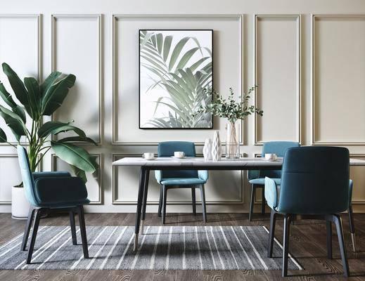 餐桌, 桌椅组合, 餐具组合, 摆件, 装饰画, 花瓶