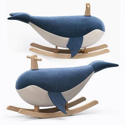 现代鲸鱼儿童木马摇椅, 儿童玩具