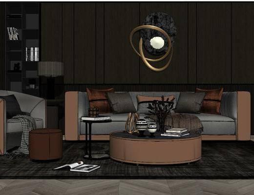 沙发组合, 墙饰, 茶几, 抱枕, 摆件组合, 单椅