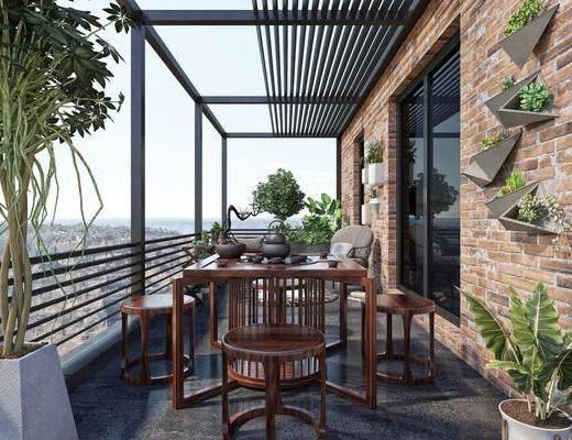 现代, 阳台, 家装