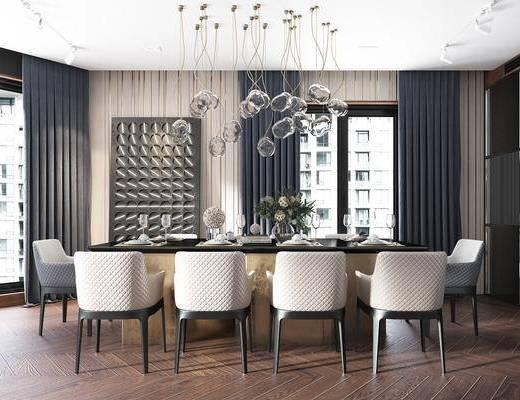 餐桌, 桌椅组合, 吊灯, 餐具组合, 酒柜