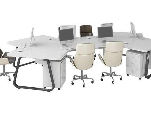 现代, 办公桌, 办公椅, 单椅, 多人办公桌