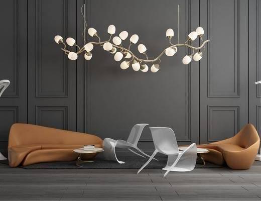 休闲沙发, 弧形沙发, 沙发组合, 吊灯, 单人椅, 休闲椅, 现代