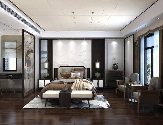 卧室, 床具组合, 新中式卧室, 双人床, 床头柜, 台灯, 床尾踏, 桌椅组合, 单椅, 圆几, 摆件, 装饰品, 茶具, 新中式