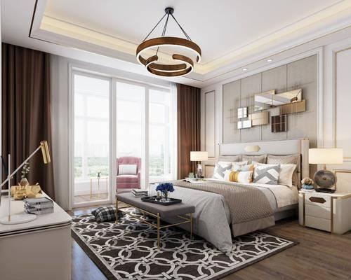 现代卧室, 卧室, 床具, 双人床, 吊灯, 现代吊灯, 床头柜, 台灯, 梳妆台, 床尾踏