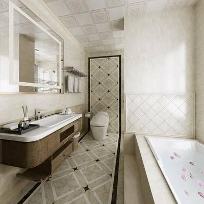 卫生间, 主卫, 洗手台, 洗手盆, 浴缸, 马桶, 毛巾架