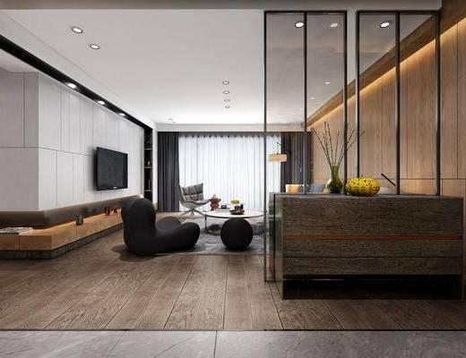 客厅, 餐厅, 单人椅, 茶几, 边柜, 墙饰, 吊灯, 沙发组合, 餐桌椅组合, 现代