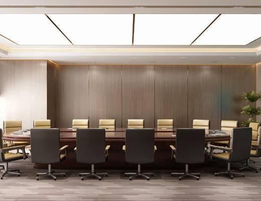 会议室, 会议桌, 椅子, 屏幕, 桌子, 办公