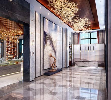 售楼处, 前台接待, 吊灯, 装饰画, 挂画, 装饰品, 陈设品, 新中式