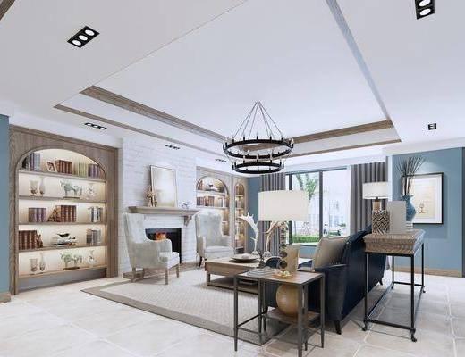 壁炉, 装饰画, 客厅, 置物柜, 吊灯, 单椅, 书桌, 桌椅组合