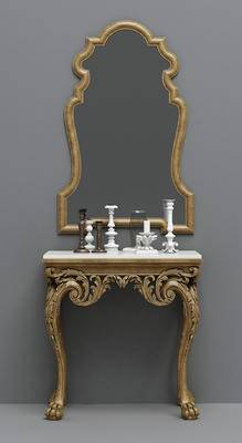 欧式, 古典, 妆台, 妆镜, 摆件, 镜子, 端景台