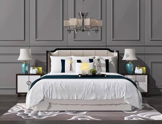 吊灯, 双人床, 床头柜, 台灯, 地毯