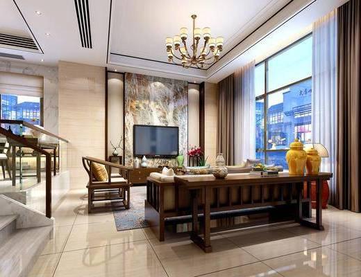 客厅, 餐厅, 多人沙发, 茶几, 单人沙发, 电视柜, 边柜, 吊灯, 边几, 台灯, 餐桌, 餐椅, 单人椅, 摆件, 装饰品, 陈设品, 中式