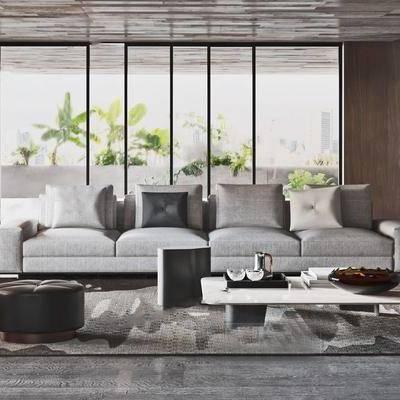 沙发组合, 沙发茶几组合, 现代, 多人沙发