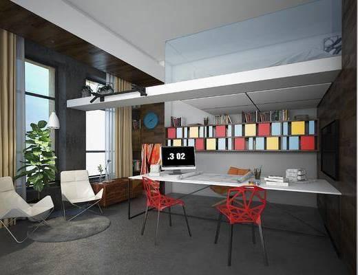 办公区组合, 桌椅组合, 单人椅组合, 盆栽, 绿植植物, 现代