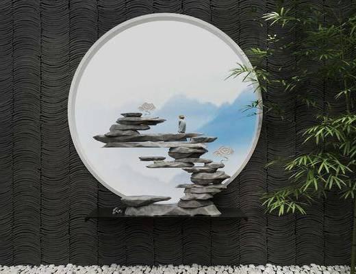 新中式, 假山, 园林景观, 雕像, 竹子, 鹅蛋石