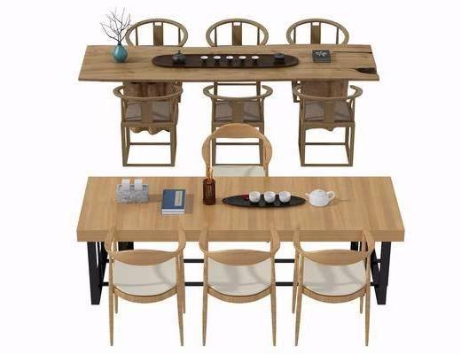 茶桌组合, 茶几, 单人椅, 摆件, 中式