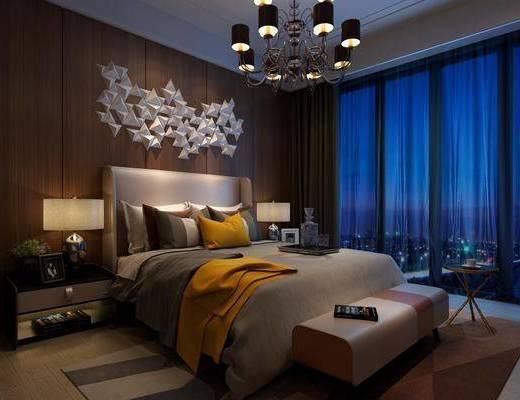 卧室, 双人床, 床头柜, 台灯, 墙饰, 吊灯, 床尾凳, 边几, 现代