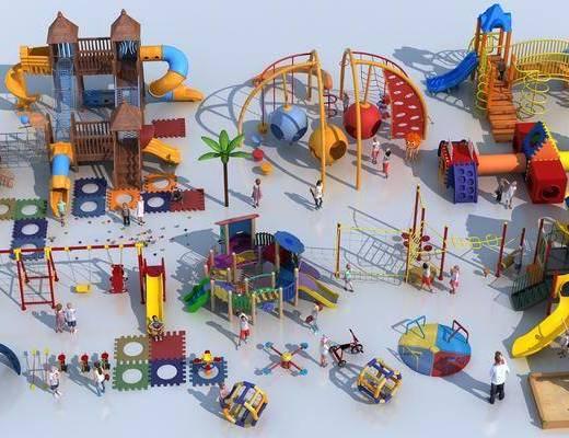 滑滑梯, 秋千, 儿童玩具, 游乐设备, 跷跷板
