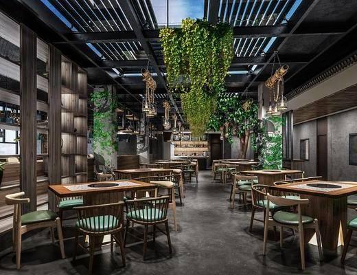 餐桌, 桌椅组合, 餐具组合, 绿植
