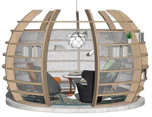 现代书店桌椅, 阅读区