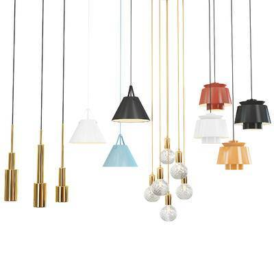 吊灯, 现代玻璃铁艺吊灯组合, 铁艺吊灯, 现代吊灯, 现代