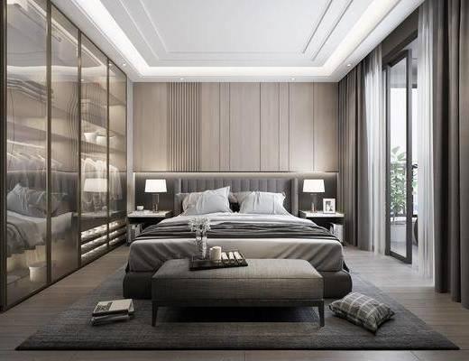 臥室, 床具組合, 衣柜服飾, 臺燈組合, 現代